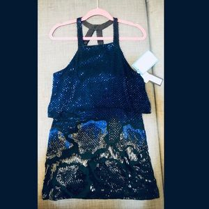 NWT NEW PARKER sequin mini dress blue and black